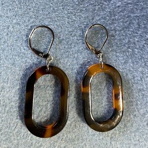 Tortoise shell look acrylic earrings, oval link